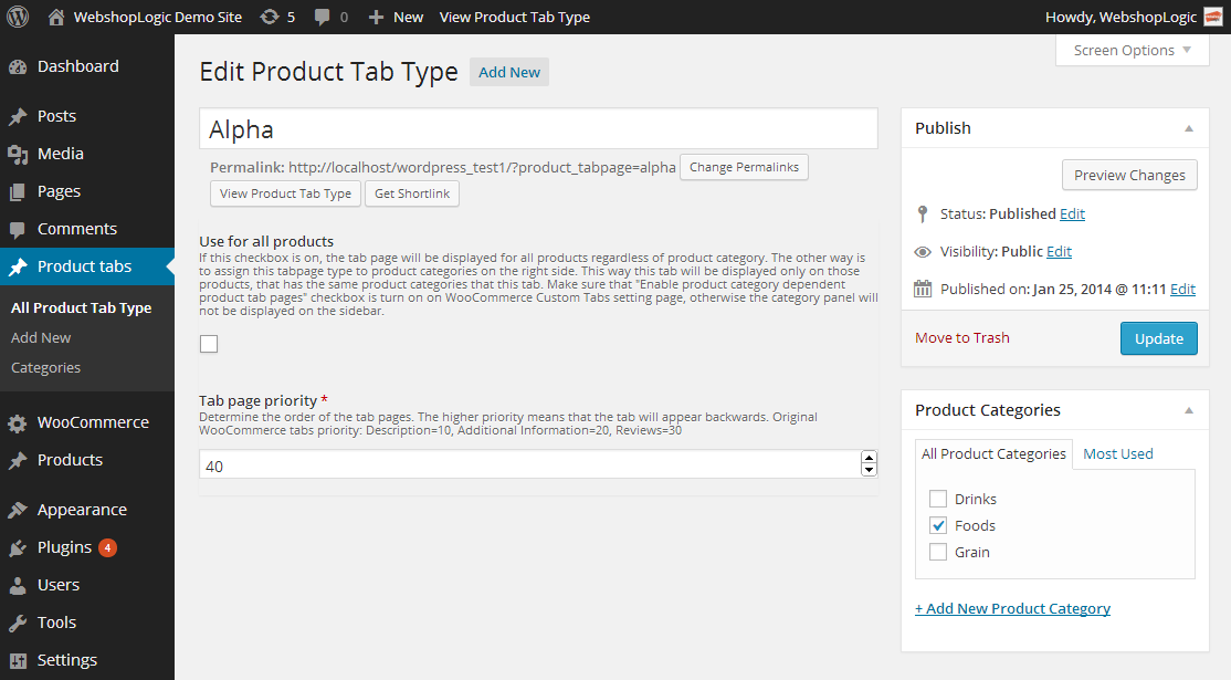 WooCommerce Custom Tabs Pro Custom tab type definition page