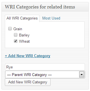 WordPress Related Items WRI categories