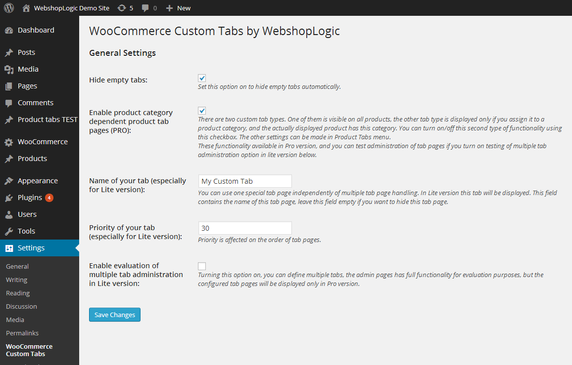 WooCommerce Custom Tabs Lite Option Page