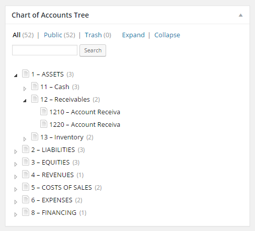 Filogy Chart of Accounts