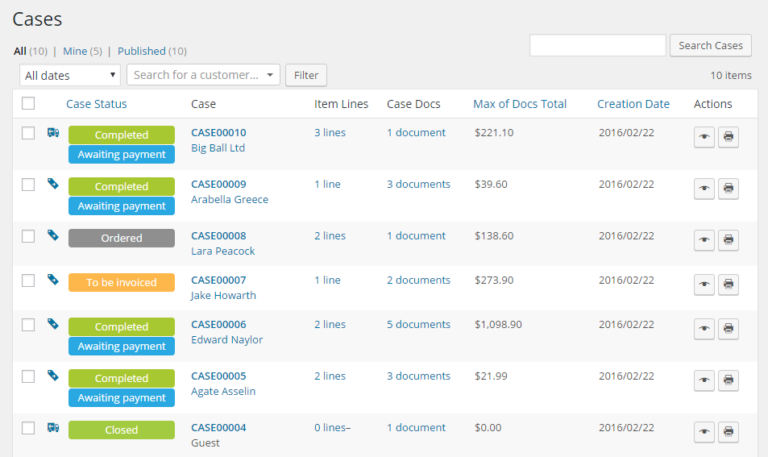 An easy to read list shows statuses of every transaction in your WooCommerce webstore.