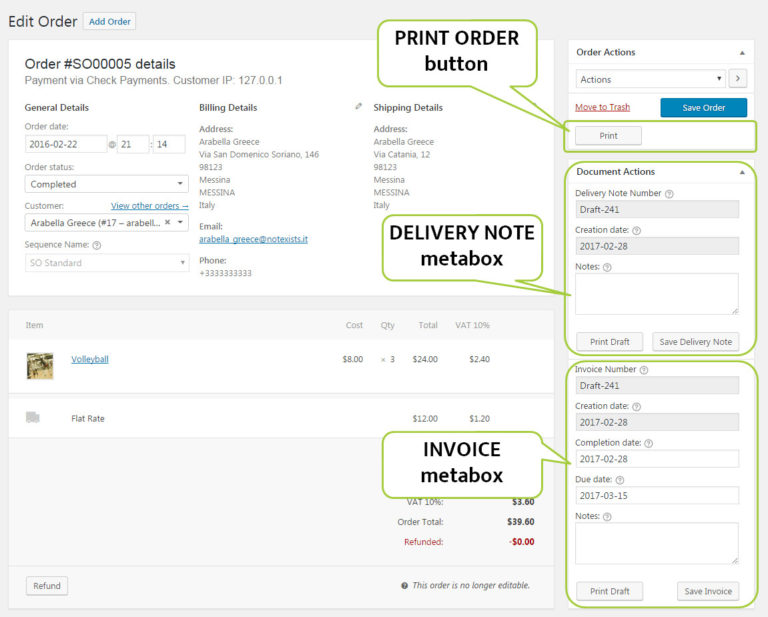 WooCommerce Delivery note and Invoice can be printed from Order using Filogy Invoice