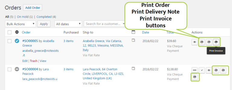 Filogy Invoice Order List shows Invoice and Delivery Note Print Buttons