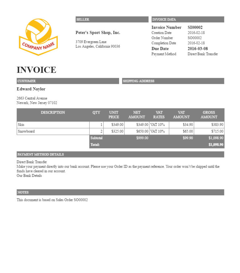 "Filogy Invoice for WooCommerce ""Basic Dark Background Titles"""