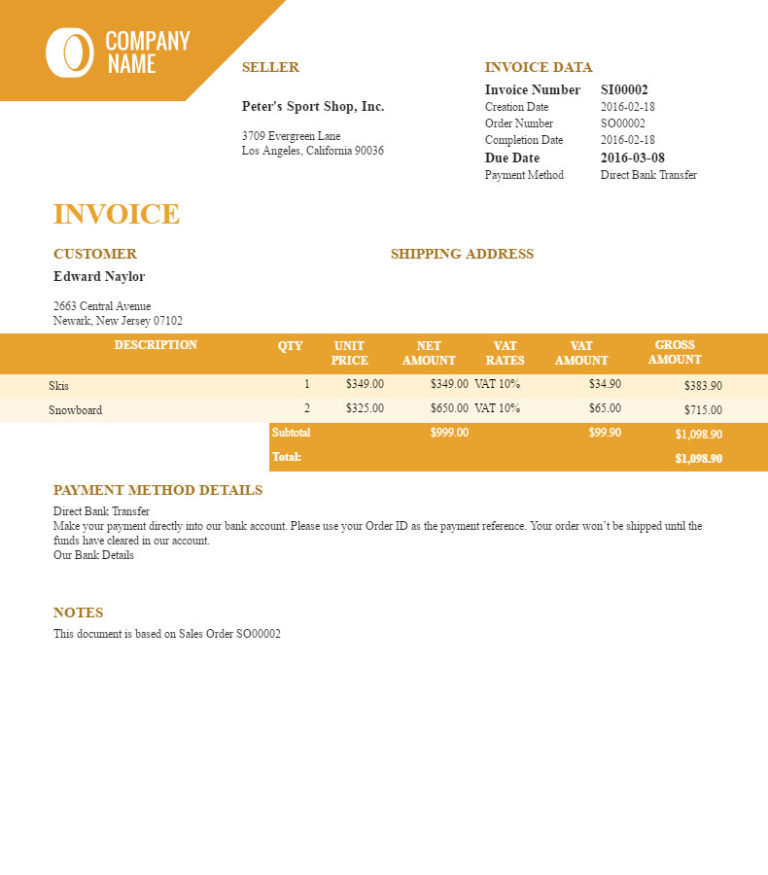 "Filogy Invoice for WooCommerce ""Golden Wide"""