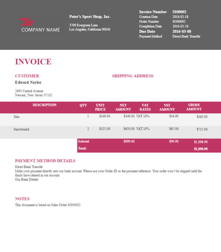 "Filogy Invoice for WooCommerce ""Contemporary Hot Wide"""