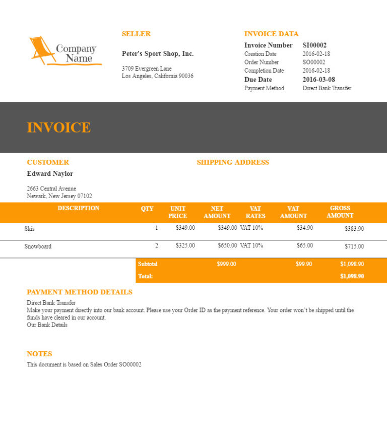 "Filogy Invoice for WooCommerce ""Fresh Orange Wide"""