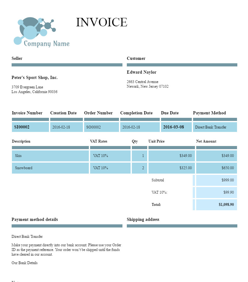 """Filogy Invoice for WooCommerce """"Trendy Blue Shapes"""""""