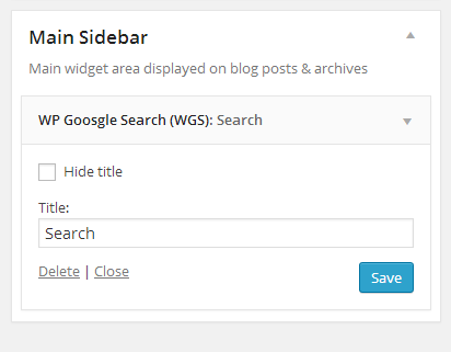 Use Google Custom Search widget for inserting Google Custom Search box into your WordPress Site.